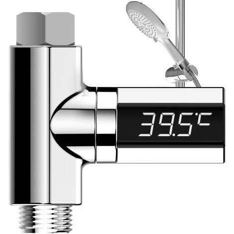 """main image of """"Digital Shower Thermometer,LED Display Water Temperature Monitor 360 Degree Rotatable Home Shower Thermometer Anti-Leaking Baby Shower Water Flow Generator Temperature"""""""