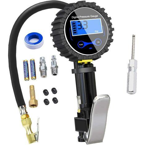 Digital Tire Gauge 250 PSI, High Accurate Digital Tire Pressure Gauge with Inflating Gun for Car Motorcycle Bikes, 2 AAA Batteries, LCD Display