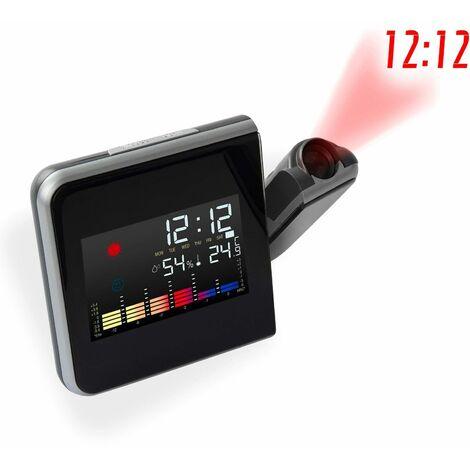 Digitale Wetterstation Thermometer Wettervorhersage Wecker mit Projektor