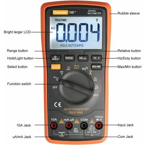 Digitales Multimeter mit automatischer Bereichswahl - hintergrundbeleuchtetes Messgerät, Multitestgerät