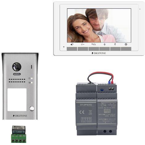 Digitone - DIGI7 - Kit portier vidéo avec moniteur couleur 7' - Argent
