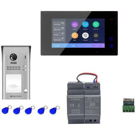 Digitone - DIGI7BW - Kit portier vidéo wi-fi avec moniteur couleur 7' - Argent