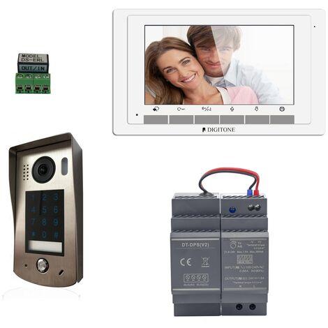 Digitone - DIGI7C - Kit portier vidéo avec clavier à code et moniteur couleur 7' - Argent