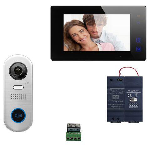 Digitone - DIGI7WA - Kit portier vidéo wi-fi avec moniteur couleur 7' - Argent