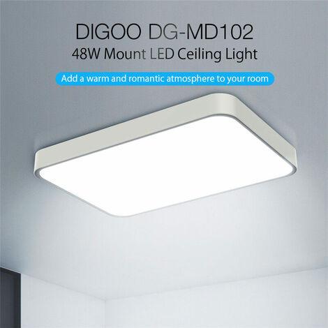 DIGOO DG-MD102 48W Panel plano LED ultrafino Cúpula tricolor absorbente de luz Atenuación sin electrodos con control remoto Blanco 185-265V Tamaño de lámpara desnuda 60X40X5cm