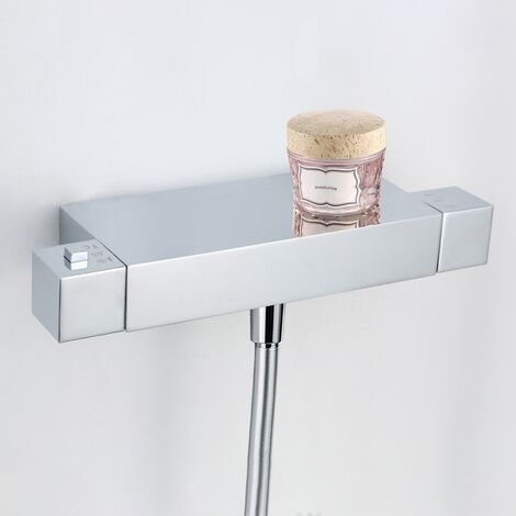 Dillon Square Thermostatic Bar Shower Cool Touch Valve - Chrome
