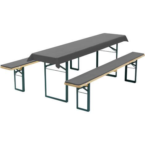 Diluma Bierbankauflagen Set - Tischdecke und 2 gepolsterten Bankauflagen:Anthrazit, für 50cm Tisch