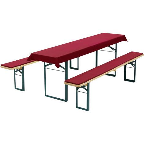 Diluma Bierbankauflagen Set - Tischdecke und 2 gepolsterten Bankauflagen:Dunkelrot, für 70cm Tisch