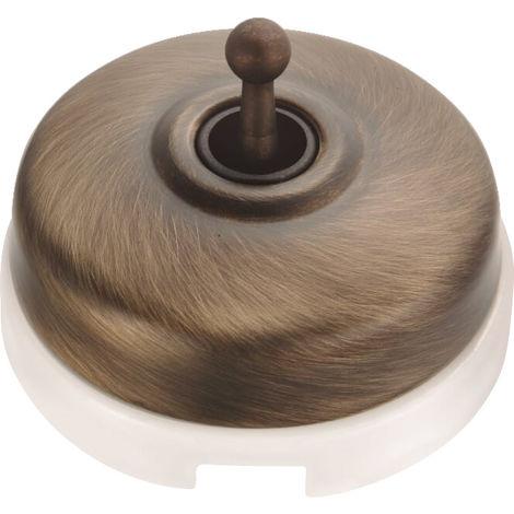 DIMBLER - Interrupteur Va & Vient Porcelaine Blanche Coque Bronze Réf. 60308703 - FONTINI