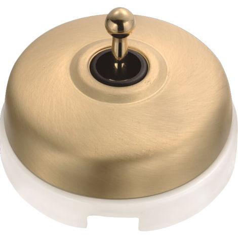 DIMBLER - Interrupteur Va & Vient Porcelaine Blanche Coque Dorée Satinée Réf. 60308523 - FONTINI