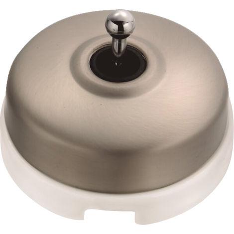 DIMBLER - Interrupteur Va & Vient Porcelaine Blanche Coque Nickel Satiné Réf. 60308513 - FONTINI