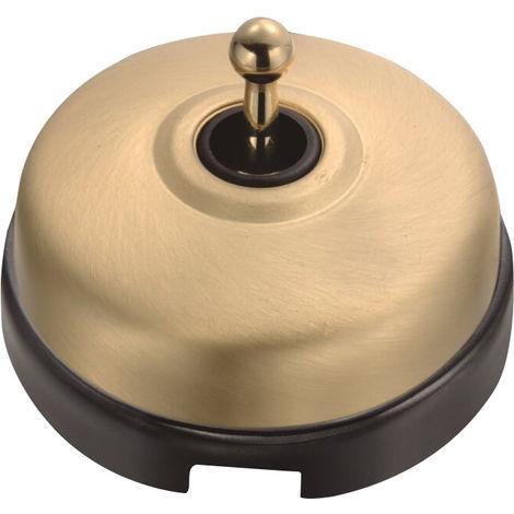 DIMBLER - Interrupteur Va & Vient Porcelaine Noire Coque Dorée Satinée Réf. 60308743 - FONTINI