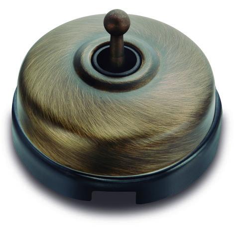 DIMBLER Va et Vient Porcelaine Noire - Coque Bronze 10A-250V - Fontini