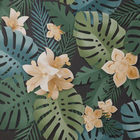 Dimensions Wallpaper Fine Décor Floral 3D Effect Black Green Teal Flower