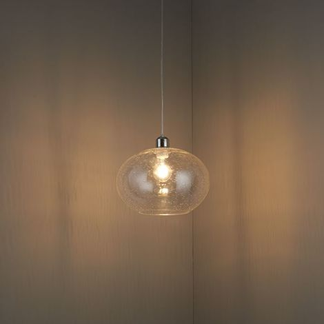 Dimitri Ceiling Pendant Clear Glass Shade With Bubbles Non Electric 40W