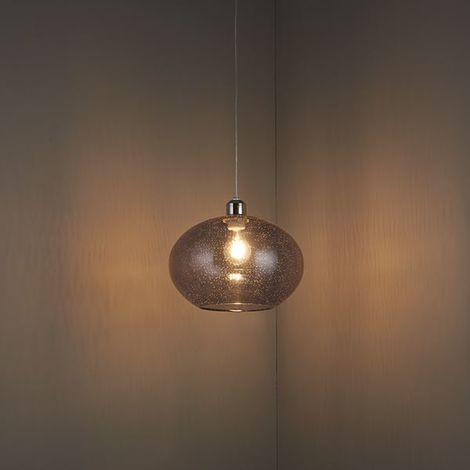 Dimitri Ceiling Pendant Grey Glass Shade With Bubbles Non Electric 40W