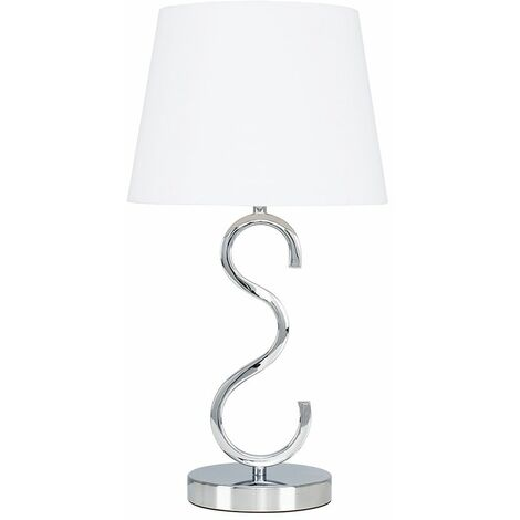 Dimmable Chrome Touch Table Lamp With Shade & Dimmable 5W Candle LED Bulb - Navy Blue