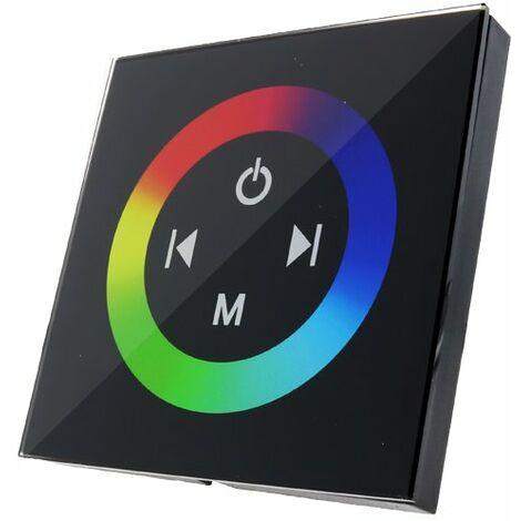 Dimmer Empotrable Táctil RGB para Tiras LED 12/24V Negro | IluminaShop