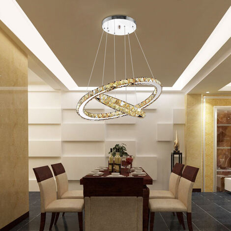 Dimming LED Chandelier Lamp Wire Pendant Crystal Ceiling Lights
