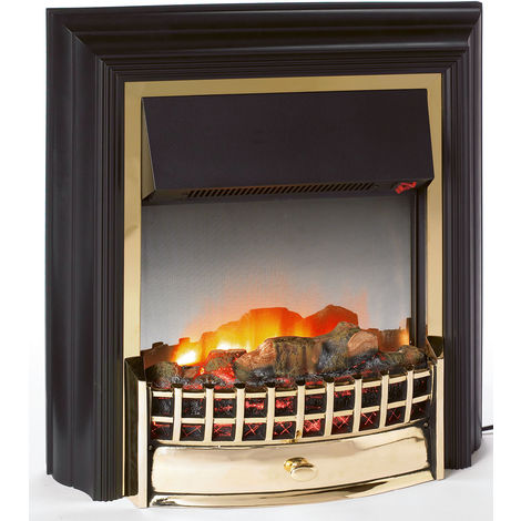 Dimplex Cheriton 2kw Freestanding flame effect Electric Wood Effect Black/Brass Livingroom Fire with Remote Control