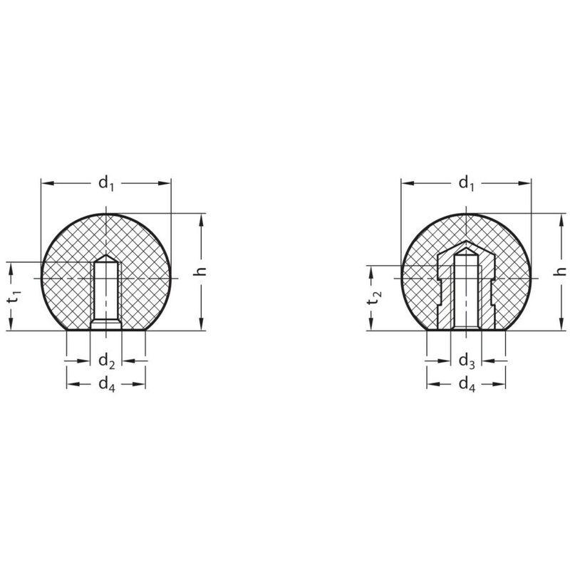 Image of Ganter DIN319-KU-50-M12-E Ball Knob; Phenolic