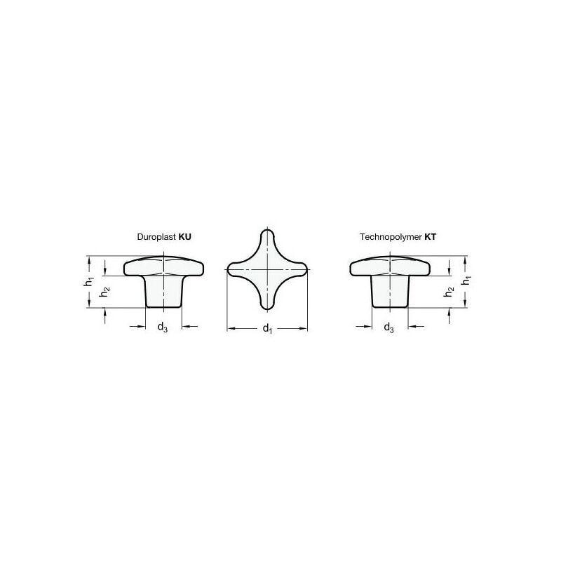 Image of DIN6335-KU-50-M10-K Star Knobs Plastic - Ganter