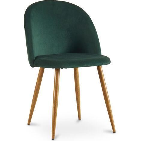 Dining Chair Accent Velvet Upholstered Scandi Retro Design Wooden Legs - Evelyne