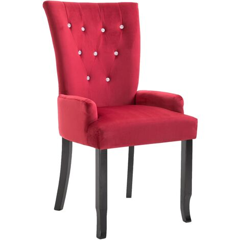 Dining Chair with Armrests Red Velvet