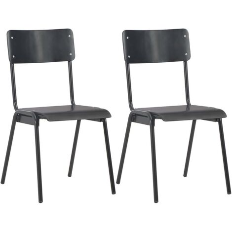 Dining Chairs 2 pcs Black Solid Plywood Steel