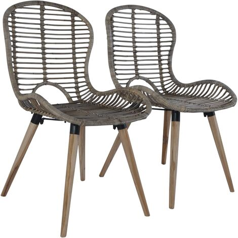 Dining Chairs 2 pcs Brown Natural Rattan