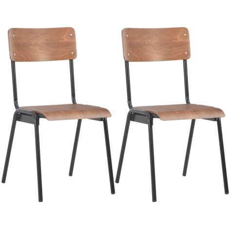 Dining Chairs 2 pcs Brown Solid Plywood Steel