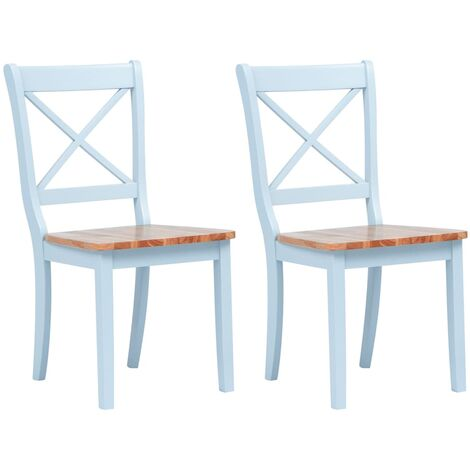 Dining Chairs 2 pcs Grey and Light Wood Solid Rubber Wood