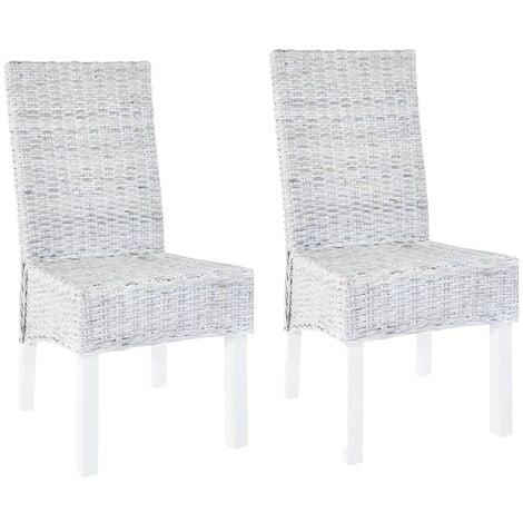 Dining Chairs 2 pcs Grey Kubu Rattan and Mango Wood - Grey