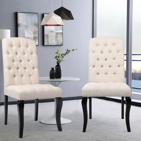 Dining Chairs 2 pcs Linen Fabric - dining room chairs, kitchen chairs, dining table chairs - Beige