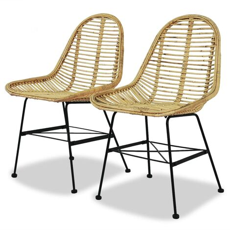 Dining Chairs 2 pcs Natural Rattan - Beige
