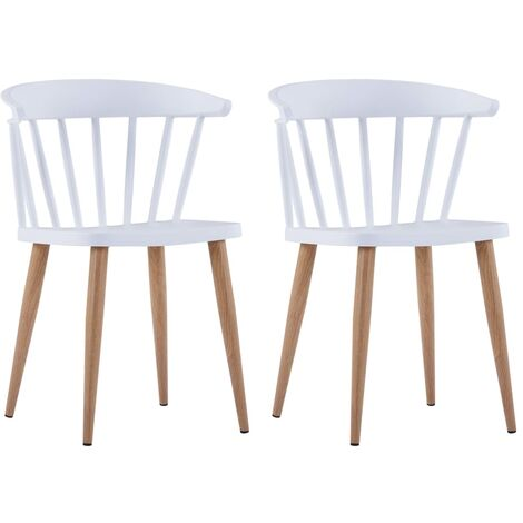 Dining Chairs 2 pcs White Plastic
