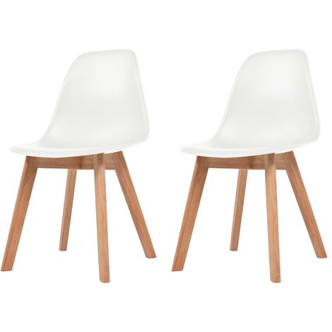 Dining Chairs 2 pcs White Plastic - White