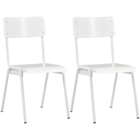 Dining Chairs 2 pcs White Solid Plywood Steel