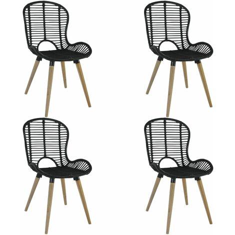 Dining Chairs 4 pcs Black Natural Rattan