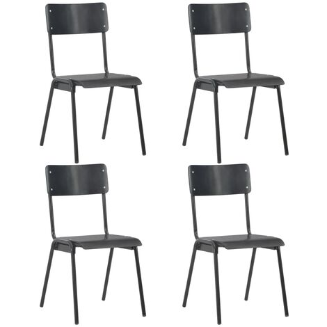 Dining Chairs 4 pcs Black Solid Plywood Steel