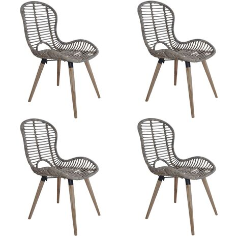 Dining Chairs 4 pcs Brown Natural Rattan
