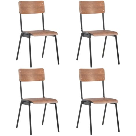 Dining Chairs 4 pcs Brown Solid Plywood Steel