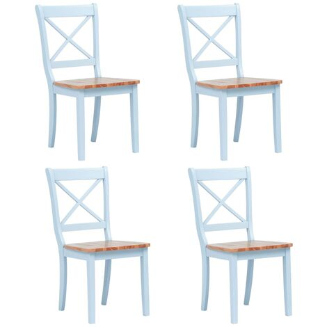 Dining Chairs 4 pcs Grey and Light Wood Solid Rubber Wood