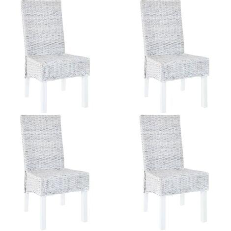 Dining Chairs 4 pcs Grey Kubu Rattan and Mango Wood - Grey