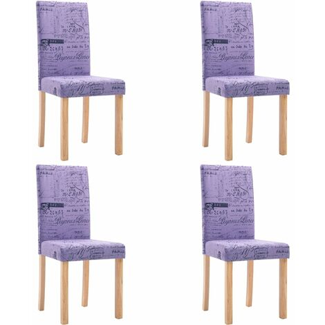Dining Chairs 4 pcs Purple Fabric