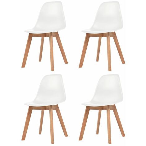 Dining Chairs 4 pcs White Plastic