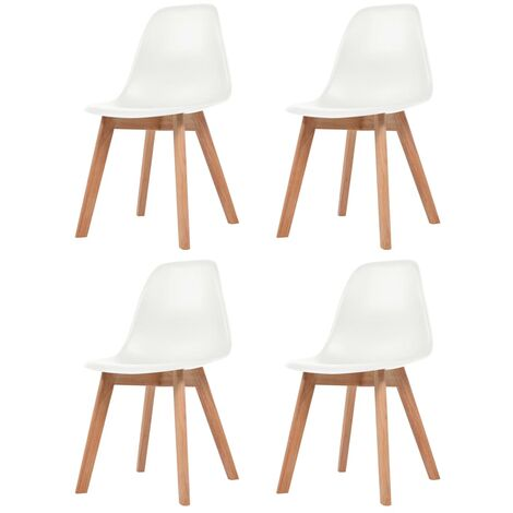 Dining Chairs 4 pcs White Plastic - White