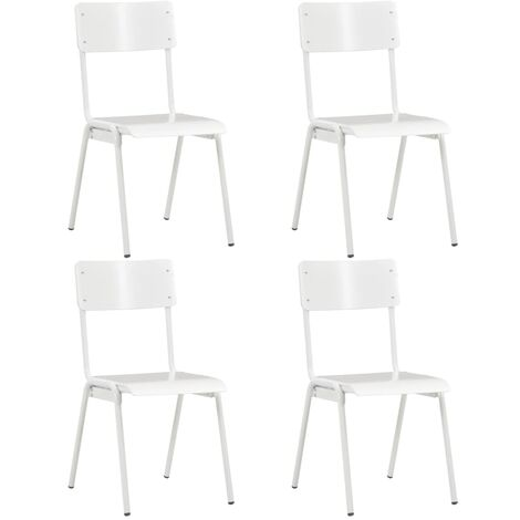 Dining Chairs 4 pcs White Solid Plywood Steel