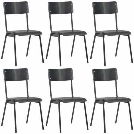 Dining Chairs 6 pcs Black Plywood - Black