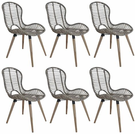 Dining Chairs 6 pcs Brown Natural Rattan